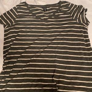 Torrid dark grey striped v-neck tee